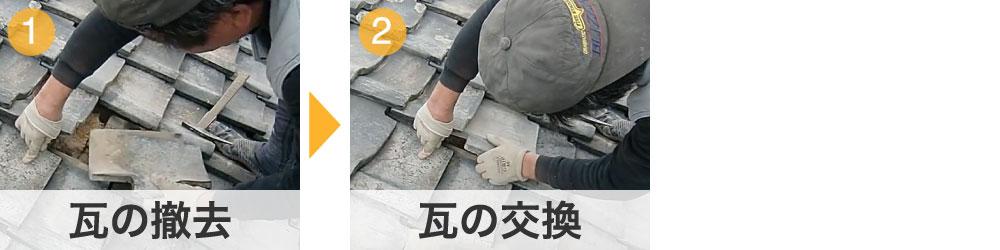 瓦の交換の工程